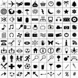 черные установленные иконы Стоковые Изображения RF