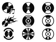 Черные установленные значки компактного диска Стоковое Изображение