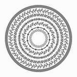Черные установленные картины границы листьев близких окружений силуэта бесплатная иллюстрация