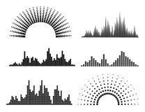 Черные формы волн музыки Стоковые Изображения