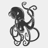 Черные характеры осьминога шаржа опасности с Стоковое фото RF