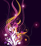 черные цветастые линии волнистые Стоковое Фото