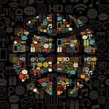 черные цветастые сделанные иконы глобуса бесплатная иллюстрация