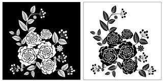 Черные цветки белой розы бесплатная иллюстрация