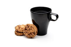 Черные чашка и печенья Стоковая Фотография RF