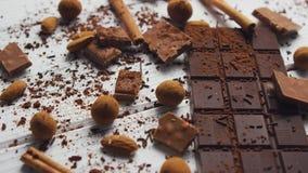 Черные шоколад и специи видеоматериал