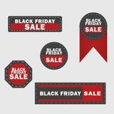 Черные элементы дизайна продажи пятницы Черные ярлыки надписи продажи пятницы, стикеры также вектор иллюстрации притяжки corel иллюстрация штока