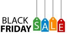 Черные ярлыки продажи пятницы красочные Стоковое Изображение RF