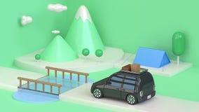 Черный автомобиль идет стиль мультфильма горы зеленой сцены конспекта природы перемещения геометрический минимальные 3d представл иллюстрация вектора