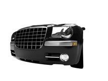 черный автомобиль front isolated view2 Стоковые Изображения