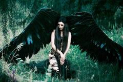 Черный ангел Милый девушк-демон Стоковые Изображения RF