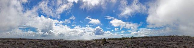 Черный ландшафт лавы - вулкан Kilauea, Гаваи Стоковое Фото