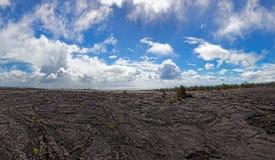 Черный ландшафт лавы - вулкан Kilauea, Гаваи Стоковая Фотография RF