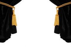 черный бархат занавеса Стоковое Фото