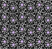 Черный безшовный цветочный узор с шнурком и диамантами иллюстрация вектора