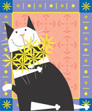 Черный & белый кот Стоковое Изображение RF