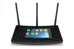 Черный беспроволочный маршрутизатор Wi-Fi стоковое фото rf