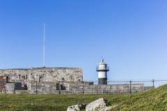 Черный & белый маяк, замок Southsea Стоковые Фото