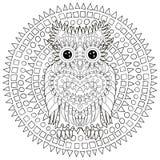 Черный белый doodle tracery сыча иллюстрация штока