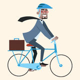 Черный бизнесмен на ездах велосипеда, который нужно работать Стоковые Изображения