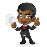 Черный бизнесмен проводя диктора рожка Стоковая Фотография RF