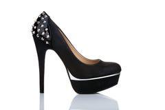 Черный ботинок шпилек платформы Стоковое Фото