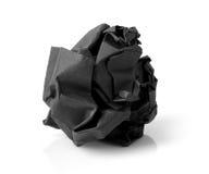 Черный бумажный шарик изолированный на белой предпосылке Стоковые Изображения