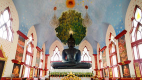 Черный Будда в виске dhammamongkol Wat, dhammamongkol Wat, этот висок централь города Бангкока стоковые фотографии rf