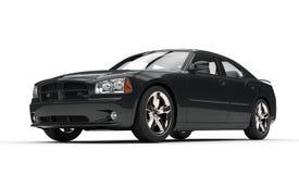 Черный быстрый мощный автомобиль Стоковые Фотографии RF