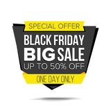 Черный вектор знамени продажи пятницы До 50 процентов с значка пятницы Шальной плакат продажи изолированная иллюстрация руки кноп Стоковая Фотография