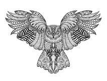 черный вектор сыча чернил иллюстрации орла чертежа Взрослая antistress страница расцветки Стоковые Фотографии RF