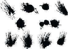 черный вектор splats Стоковые Фото