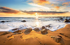 черный взгляд восхода солнца моря горы kara Крыма dag голубое небо Стоковые Изображения RF