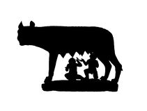 черный волк тени capitoline Стоковая Фотография