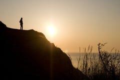 черный восход солнца моря утра Стоковое Изображение RF