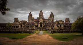 Черный вход Angkor Wat, Стоковые Фотографии RF