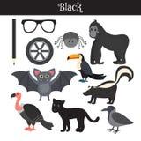 черный Выучите цвет Комплект образования Иллюстрация основного c Стоковые Фото