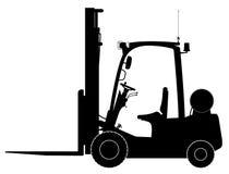 Черный грузоподъемник склада Взгляд со стороны Склад, поставка и транспорт товаров Стоковое Изображение