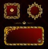 черный декоративный сбор винограда красного цвета золота очарования рамки Стоковые Фото