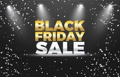 Черный дизайн знамени вектора скидки специальной продажи 50% пятницы Стоковая Фотография