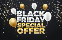 Черный дизайн знамени скидки специальной продажи 50% пятницы Стоковое Изображение