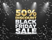 Черный дизайн знамени скидки специальной продажи 50% пятницы Стоковые Изображения