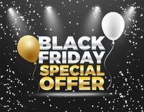 Черный дизайн знамени скидки специальной продажи 50% пятницы Стоковые Фотографии RF