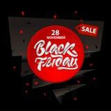 Черный дизайн продажи пятницы с литерностью Черное знамя пятницы r иллюстрация вектора