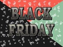 Черный дизайн шаблона пятницы Картина символов валюты доллара, евро, фунта стерлинга Стоковые Изображения RF