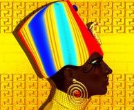 Черный египетский ферзь, красивая сторона, предпосылка hieroglyphics в камне Стоковые Фотографии RF