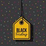 Черный желтый цвет бирки предложения скидки пятницы и шкентель потока в черной предпосылке с confetti красочным иллюстрация вектора