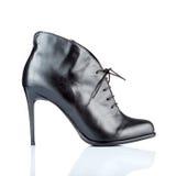 Черный женский ботинок высокой пятки Стоковое Изображение