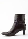 черный женский кожаный ботинок Стоковые Фото