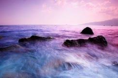 черный заход солнца моря Стоковые Фото